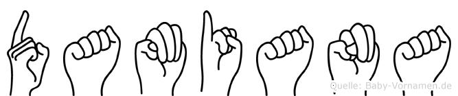 Damiana im Fingeralphabet der Deutschen Gebärdensprache