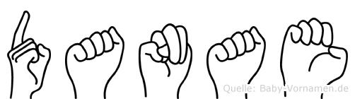 Danae im Fingeralphabet der Deutschen Gebärdensprache
