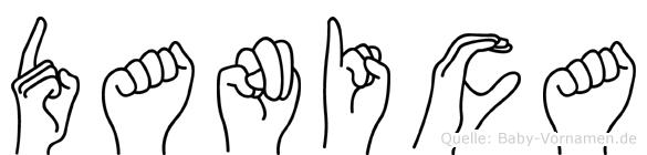 Danica im Fingeralphabet der Deutschen Gebärdensprache