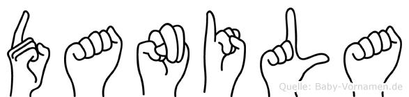 Danila im Fingeralphabet der Deutschen Gebärdensprache