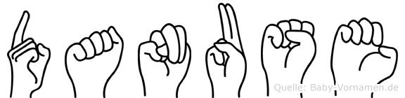 Danuse im Fingeralphabet der Deutschen Gebärdensprache