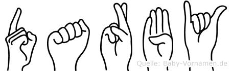 Darby im Fingeralphabet der Deutschen Gebärdensprache