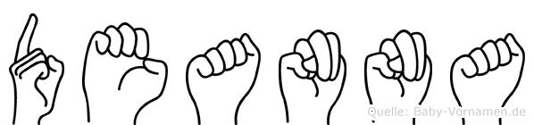 Deanna im Fingeralphabet der Deutschen Gebärdensprache