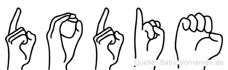 Dodie im Fingeralphabet der Deutschen Gebärdensprache