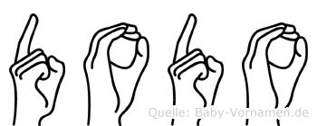 Dodo in Fingersprache für Gehörlose