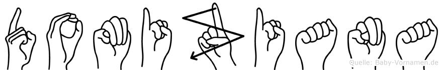 Domiziana im Fingeralphabet der Deutschen Gebärdensprache