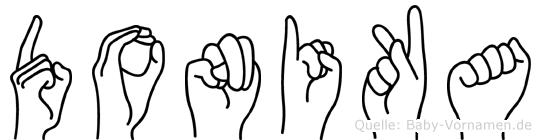 Donika im Fingeralphabet der Deutschen Gebärdensprache