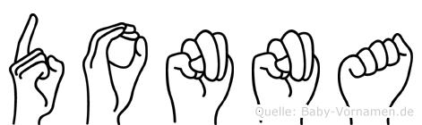 Donna im Fingeralphabet der Deutschen Gebärdensprache