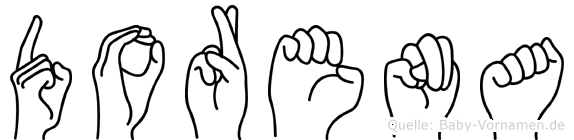 Dorena im Fingeralphabet der Deutschen Gebärdensprache