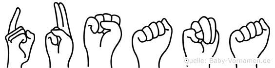 Dusana im Fingeralphabet der Deutschen Gebärdensprache