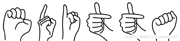 Editta im Fingeralphabet der Deutschen Gebärdensprache