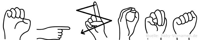 Egzona im Fingeralphabet der Deutschen Gebärdensprache