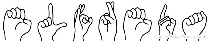 Elfreda im Fingeralphabet der Deutschen Gebärdensprache