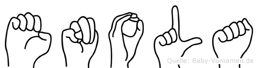 Enola im Fingeralphabet der Deutschen Gebärdensprache
