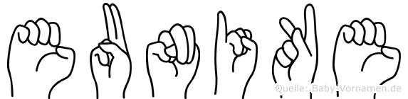 Eunike im Fingeralphabet der Deutschen Gebärdensprache