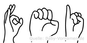 Fei in Fingersprache für Gehörlose