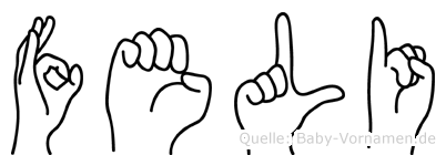 Feli in Fingersprache für Gehörlose
