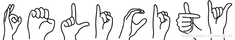 Felicity im Fingeralphabet der Deutschen Gebärdensprache