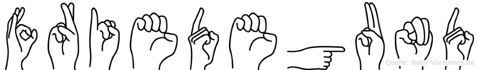 Friedegund im Fingeralphabet der Deutschen Gebärdensprache