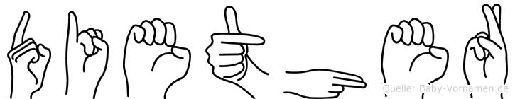 Diether in Fingersprache für Gehörlose