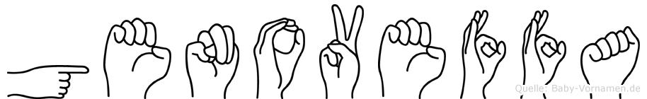 Genoveffa im Fingeralphabet der Deutschen Gebärdensprache