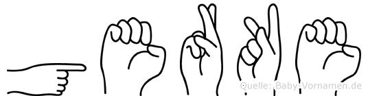 Gerke im Fingeralphabet der Deutschen Gebärdensprache