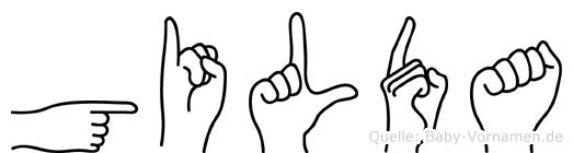 Gilda im Fingeralphabet der Deutschen Gebärdensprache