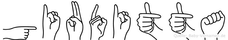 Giuditta im Fingeralphabet der Deutschen Gebärdensprache