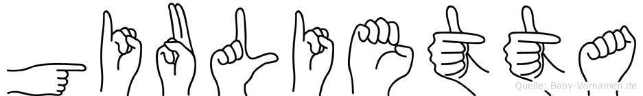 Giulietta im Fingeralphabet der Deutschen Gebärdensprache
