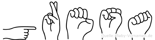 Gresa im Fingeralphabet der Deutschen Gebärdensprache