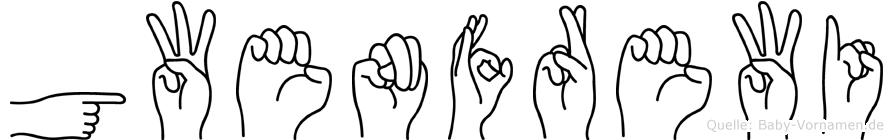 Gwenfrewi im Fingeralphabet der Deutschen Gebärdensprache