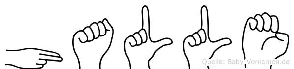Halle im Fingeralphabet der Deutschen Gebärdensprache