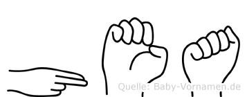 Hea im Fingeralphabet der Deutschen Gebärdensprache