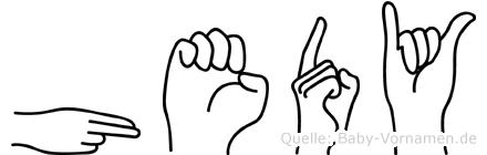 Hedy im Fingeralphabet der Deutschen Gebärdensprache