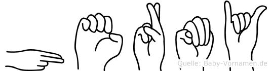 Hermy im Fingeralphabet der Deutschen Gebärdensprache