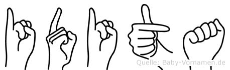 Idita im Fingeralphabet der Deutschen Gebärdensprache