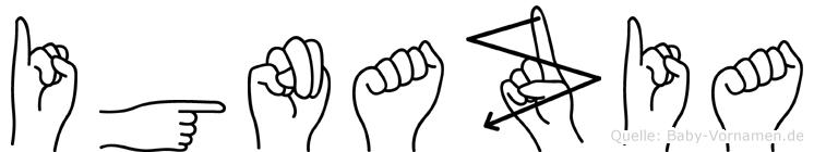 Ignazia im Fingeralphabet der Deutschen Gebärdensprache