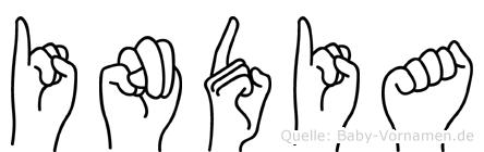 India in Fingersprache für Gehörlose
