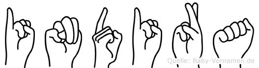 Indira im Fingeralphabet der Deutschen Gebärdensprache