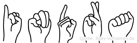 Indra im Fingeralphabet der Deutschen Gebärdensprache
