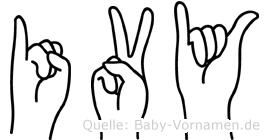 Ivy im Fingeralphabet der Deutschen Gebärdensprache