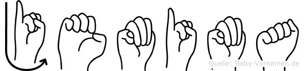 Jemima im Fingeralphabet der Deutschen Gebärdensprache