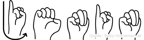 Jenin im Fingeralphabet der Deutschen Gebärdensprache