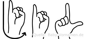Jil im Fingeralphabet der Deutschen Gebärdensprache