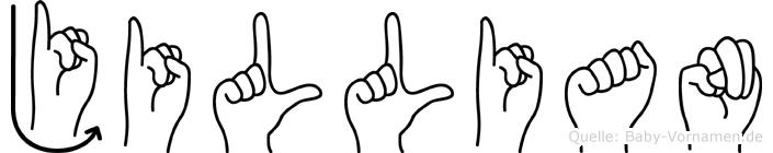 Jillian im Fingeralphabet der Deutschen Gebärdensprache