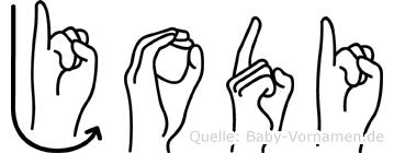 Jodi im Fingeralphabet der Deutschen Gebärdensprache