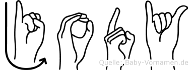 Jody im Fingeralphabet der Deutschen Gebärdensprache