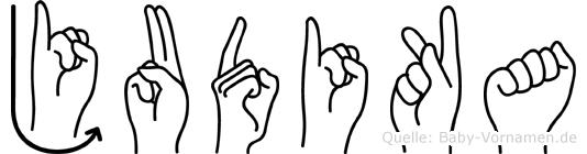 Judika im Fingeralphabet der Deutschen Gebärdensprache