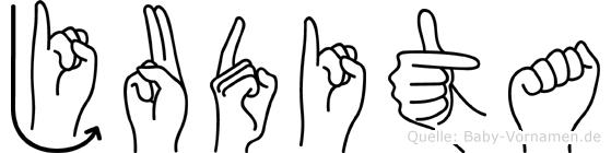 Judita im Fingeralphabet der Deutschen Gebärdensprache