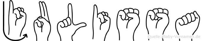 Julissa im Fingeralphabet der Deutschen Gebärdensprache